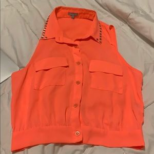 Neon orange button up